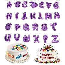 KOOTIPS Set of 26pcs DIY Letter Number Cake Mould Fondant Sugarcraft Cookie Plunger Cutter Mold Decorating Tools