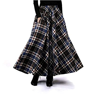 Autumn Winter Skirt Retro Wool Maxi Elastic Waist Plaid Classical Thick Warm