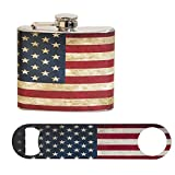 New America 'Murica 4th of July Gift Set: 5 oz. Stainless Steel Flask and Powder Coated Steel Bottle Opener