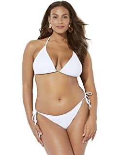 d3c43426571 Swimsuits for All Women's Plus Size Ashley Graham Icon Triangle Bikini with  Side Tie Brief