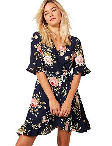 (Blooming Jelly Women's Casual Peplum Dress Cross V-Neck Ruffled Sleeve Flare Asymmetric Print Float Short Mini Summer)
