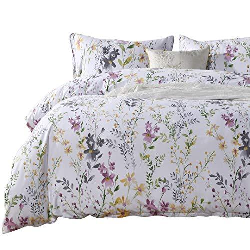 SexyTown Egyptian Cotton Duvet Cover Set,Floral Print Bedding Set 3-Piece Queen Floral F ()
