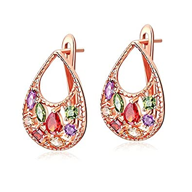 YAZILIND Stud Earrings Rose Gold Plated Color Flower Shape Cubic Zirconia for Women Girls 5dgVD1ydkB