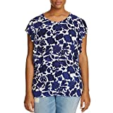 Lucky Brand Women's Plus Size Floral Flutter Top, Blue Multi, 2X