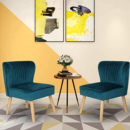 Small Velvet Armless Accent Chair