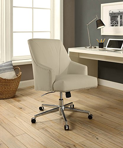 Serta Style Leighton Home Office Chair, Sweet Cream Bonded Leather