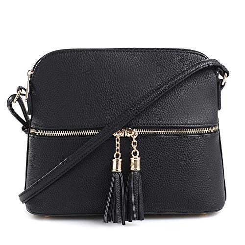 - SG SUGU Lightweight Medium Dome Crossbody Bag with Tassel | Zipper Pocket | Adjustable Strap (Black)
