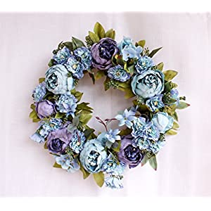 Yokoke Peony Wreath Rose Floral Twig Wreath 16 Inch Handmade Vintage Artificial Flowers Garland Front Door Wreath Beautiful Silk For Spring And Summer Wreath Display 67