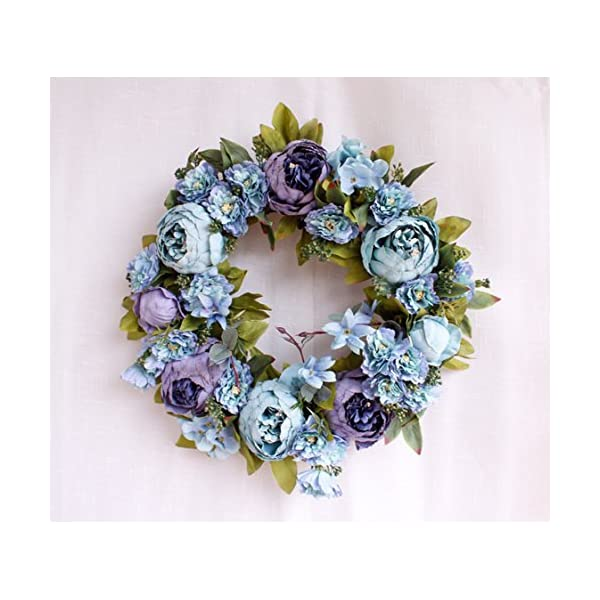 Yokoke Peony Wreath Rose Floral Twig Wreath 16 Inch Handmade Vintage Artificial Flowers Garland Front Door Wreath Beautiful Silk For Spring And Summer Wreath Display (blue)