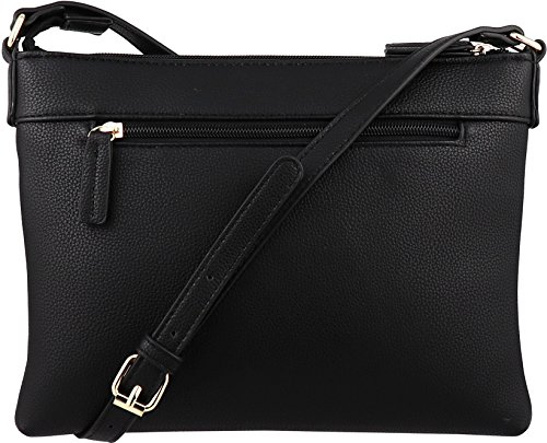 B BRENTANO Vegan Multi-Zipper Crossbody Handbag Purse with Tassel Accents (Black 1) by B BRENTANO (Image #1)