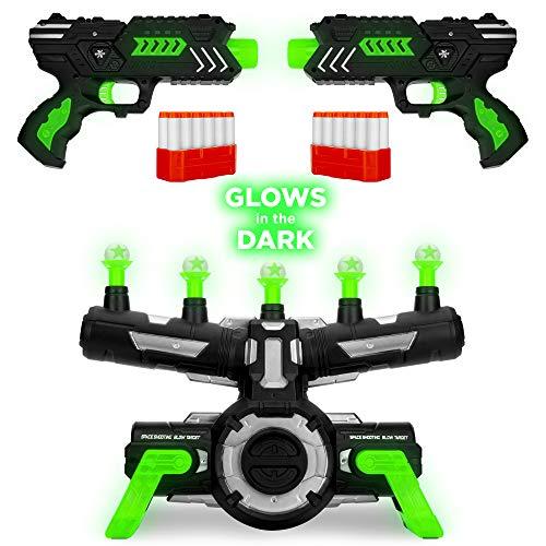 Best Choice Products Glow-in-The-Dark Foam Dart Blasters & Floating Target Set w/ 24 Darts, 2 Blasters & Dart Clips (Hovering Target Shooting Game)