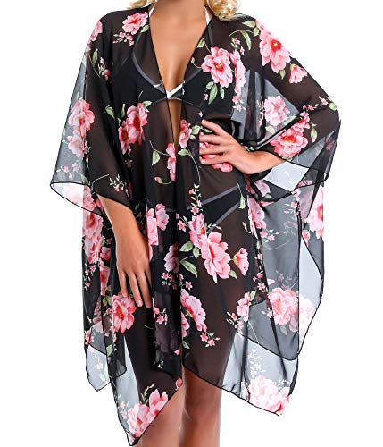 Outrip Women Swimsuit Bathing Suit Beach Cover up Chiffon Floral Kimono Cardigan (A (15) - Black with Pink Flowers)