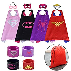 Kids Dress up Costumes Cartoon Capes Set with Masks Wristbands and a Bag for Girls 4pcs