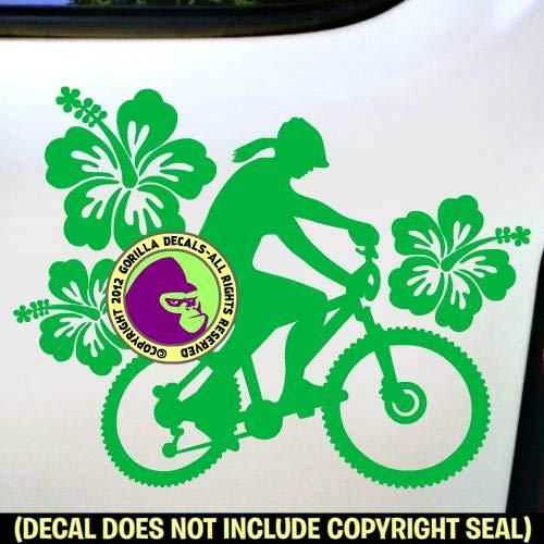 HIBISCUS Female Mountain Biker Girl Bike Biking Vinyl Decal Sticker D