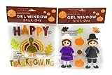 Nantucket Home Happy Thanksgiving Turkey & Pilgrims Gel Window Clings, 2 Pack
