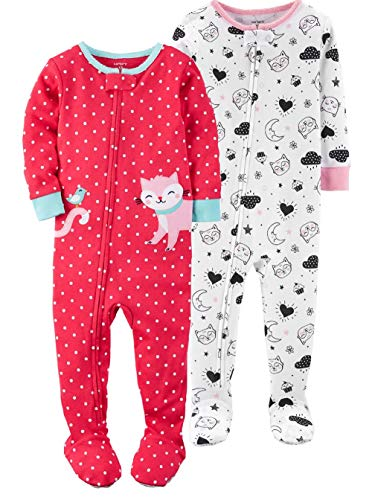 (Carter's Girls' 2-Pack Cotton Pajamas (Sweet Dreams, 12 Months))