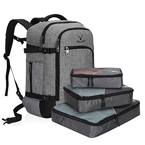 2018 Flight Bags - Hynes Eagle Travel Backpack 40L Flight Approved Carry on Backpack Light Grey with 3PCS Packing Cubes 2018