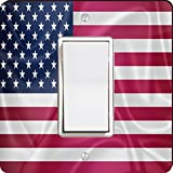 Rikki Knight 2675 Single Rocker United States of America Usa Flag Design Light Switch Plate