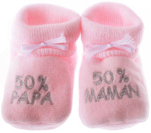 Hausschuhe Baby gestickten 50% Mama 50% Papa rosa/silber 0/3mois