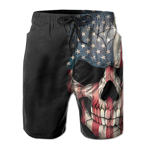 American Flag Skull Men's Water Sports Beach Shorts by BOWENSS