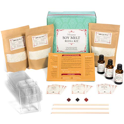 Premium Soy Melt Making Kit Refill - DIY Set Creates 9 Delightfully Scented Natural Soy Melts by Essential Reserve (Refill Pack #3 - Fresh Peach, Love Spell, Black Raspberry & Vanilla)