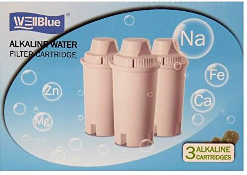 WellBlue 3 Pack Drop In Brita Style Alkaline Water Filter Replacement.. 7 Stage Mineral Water Filter.Works With Wellblue, Brita Style Pitchers & Dispensers (3 Pack) (Alkaline Brita Filter)