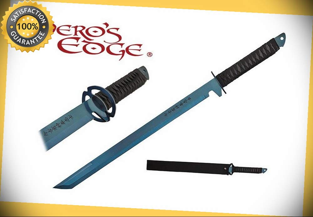 1 PC Full Tang Blue Blade Straight Ninja Sword with Musashi ...