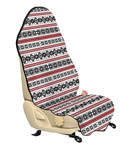 Ambesonne Nordic Car Seat Cover, Scandinavian Style Norwegian Ornamental Winter Motif Silhouettes Traditional, Car and Truck Seat Cover Protector with Nonslip Backing Universal Fit, Ruby Black White