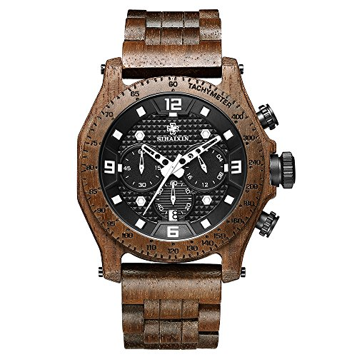 SIHAIXIN Newest Men's Walnut Wooden Watch Waterproof Sport Quartz Chronograph Military Wrist Watches Japan Movement Male - Chronograph Elegance