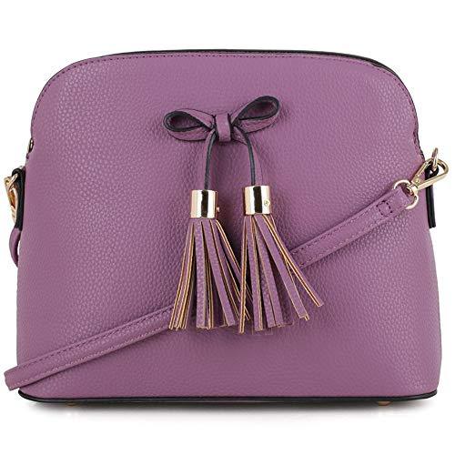 Bow Mini Purse - SG SUGU Lightweight Medium Crossbody Bag   Bow Tassel Zipper Pocket   Adjustable and Removable Strap   Purple