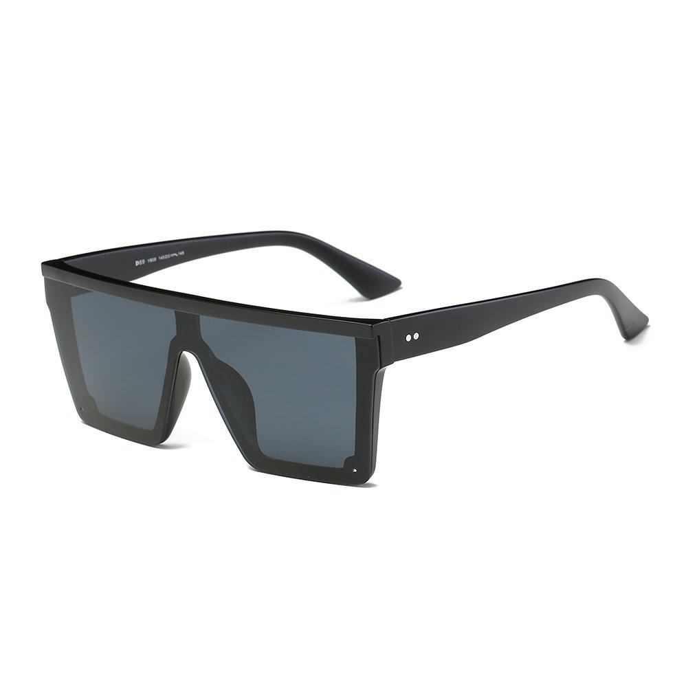 DONNA Cool Unisex Oversized Flat Top Sunglasses Square Aviator Shades D89(Matte Black)