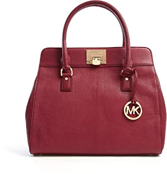 Michael Kors Astrid Claret Large Satchel Tote Handbag Mk Burgundy Red  Leather
