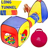 Kiddey 3pc Kids Play Tent Crawl Tunnel and Ball Pit Set – Durable Pop Up Playhouse Tent for Boys, Girls, Babies, Toddlers & Pets – for Indoor & Outdoor Use, With Carrying Case, -Great Christmas Gift-