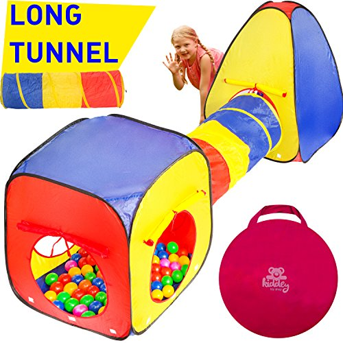 Kiddey 3pc Kids Play Tent Crawl Tunnel and Ball Pit Set – Durable Pop Up Playhouse Tent for Boys, Girls, Babies, Toddlers & Pets – for Indoor & Outdoor Use, With Carrying Case, -Great Christmas Gift- (Toddler Girls Play Tent)