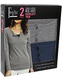 Women's Cotton Modal Henley T-Shirt (Pack of 2)