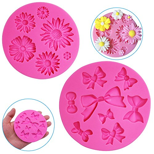 FineGood 2 Pieces Decorative Silicone Molds, Chrysanthemum Flower and Bow Tie Shaped, Chocolate Fondant Clay Sugar Craft Soap Decoration Molds DIY Baking Cake Tool - Pink