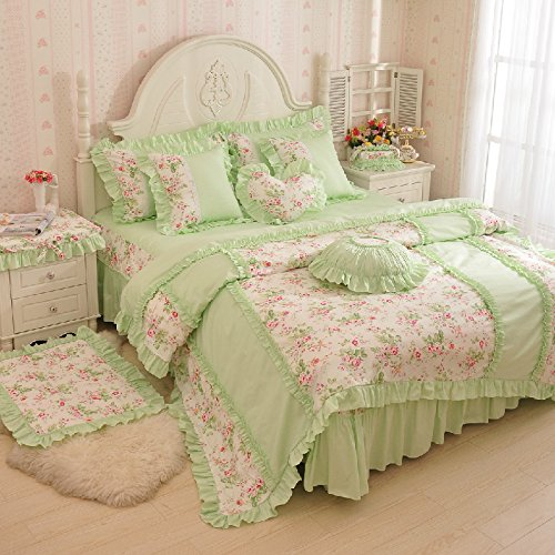 MeMoreCool Home Textile Sweet Girls Design Pastoral Style Floral Lace Princess Bedding Girly Light Green Ruffle Duvet Cover Sets Fashion Exquisite Falbala Bed Skirt Full Size 4Pcs (Full Blanket Anime Size)
