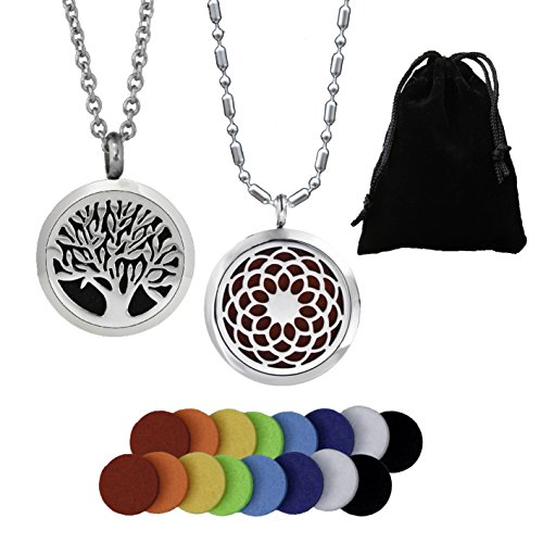 2PCS Essential Oil Aromatherapy Diffuser Necklace Pendant Set - 2 Pattern Scent Lockets, 22