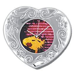 Snoopy by Everhart Silver Color Heart Shaped Desk Top Table Clock Featuring Tom Everhart's Image of Woodstock as Bird Lips In A Pink Polyester Wig on the Dial