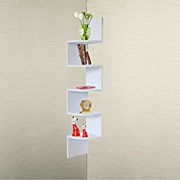 Large White Finish Corner Zig Zag Wall Shelf
