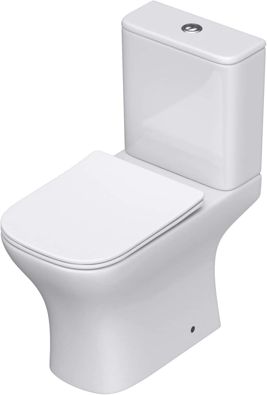 Durovin Bathrooms Close Coupled Two Piece Ceramic Toilet - Open Flush Rim - Include WC Pan with Cistern and Soft Close Seat