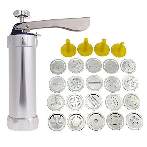 Stainless Steel Cookie Press Kit - Multifunctional Comfort Grip 20 Stainless With Stainless Steel Discs & 4 Icing Tips - For Kids & Adults - All-In-1 Spritz Dough Gun Gun Biscuit Maker