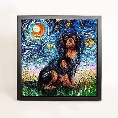- Cavalier King Charles Spaniel Dog Art FRAMED CANVAS print Starry Night Aja Wall Decor 8x8, 10x10, 12x12, 16x16, 20x20, 24x24, 30x30 inches