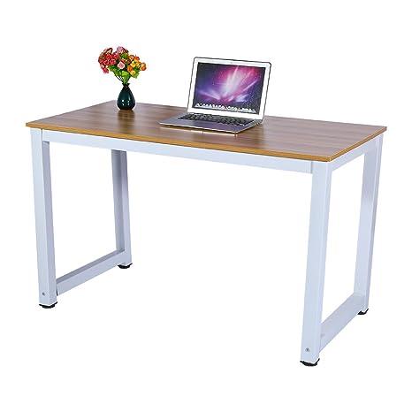 Modern Wooden Computer Desk, Simple Home Office Desktop Workstation Steel  Frame PC Laptop Table Study Table Workstation 47.2\
