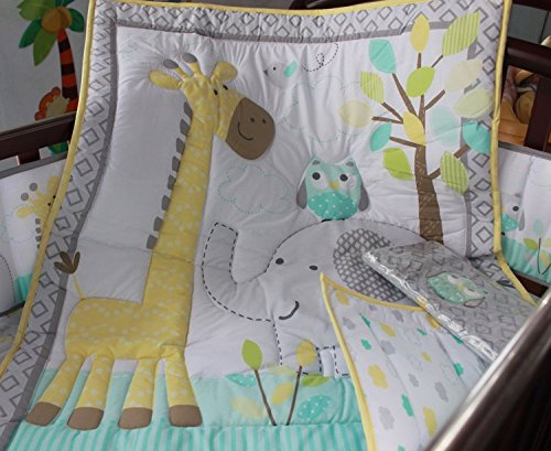 NAUGHTYBOSS Baby Bedding Set Cotton 3D Embroidery Owl Elephant Giraffe Quilt Bumper Bed Skirt Mattress Cover 7 Pieces Multicolor by NAUGHTYBOSS (Image #3)