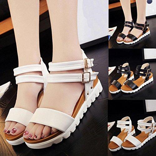 Femmes Sandales, Amlaiworld 2017 Femmes Sandales simples femmes Sandales plates en cuir Chaussures de dames Blanc