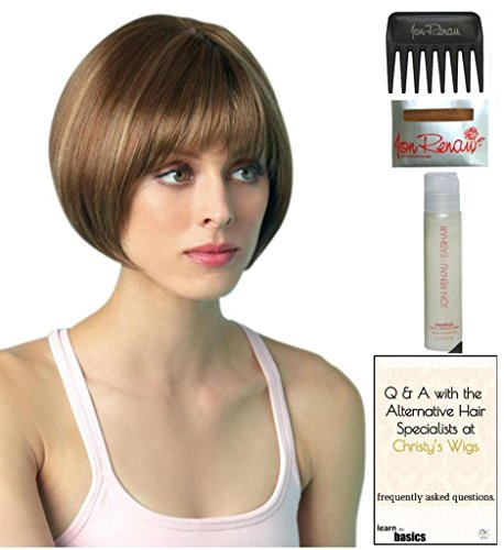 Erin Wig by Amore, 15 Page Christy's Wigs Q & A Booklet, 2oz Travel Size Wig Shampoo, Wig Cap & Wide Tooth Comb COLOR SELECTED: MEDIUM BROWN ()
