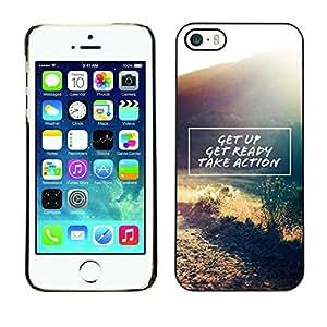 PC/Aluminum Funda Carcasa protectora para Apple Iphone 5 / 5S get up take action motivational quote / JUSTGO PHONE PROTECTOR