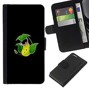 Protector de cuero de la PU de la cubierta del estilo de la carpeta del tirón BY RAYDREAMMM - Apple Iphone 5C - Victreebel P0kemon
