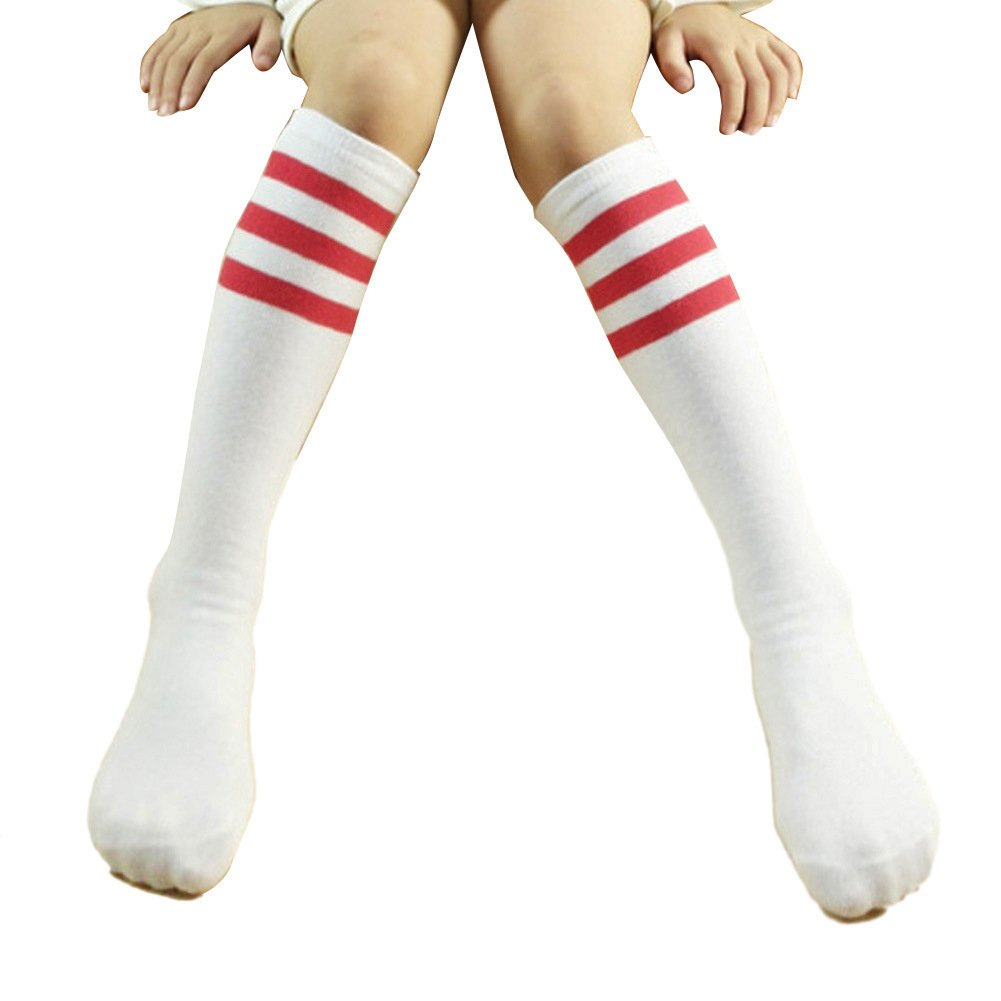 TININNA Kids Girls Boys Striped Cotton Knee High Socks Stockings Tube Socks Leg Warmers Red 4-15 Years Old